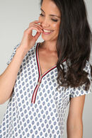 Robe imprimé minimaliste et fleuri avec zip, Fushia