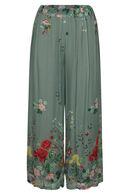 Pantalon large imprimé fleuri, Kaki