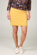 Jupe tube maille jacquard rosaces, Ocre