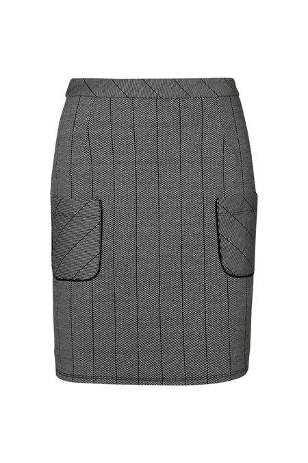 Korte rok in gestreept tricot - Grijs