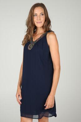 Soepele jurk met frontje, Marineblauw