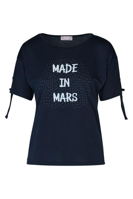 T-shirt met opdruk 'Made in mars' - Marineblauw