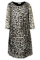 Robe plissée imprimé léopard, Noir/Ecru
