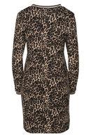 Jurk met luipaardprint en lurexbiesjes, Bruin