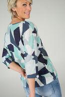 T-shirt lurex imprimé géométrique, aqua