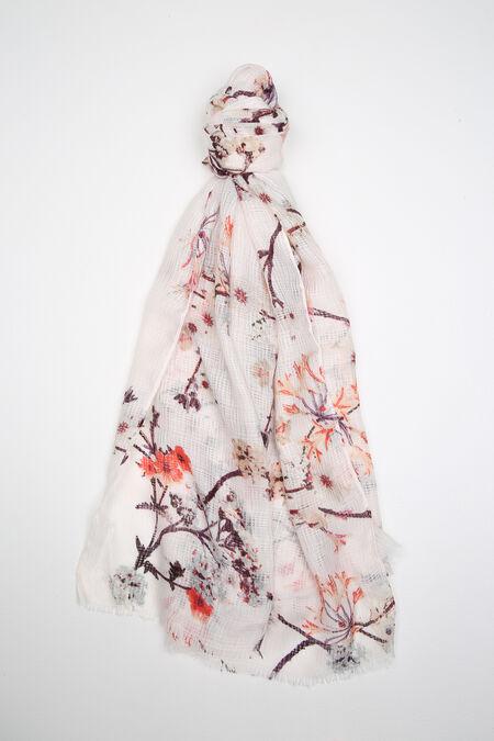 Foulard imprimé branches fleuries - Corail