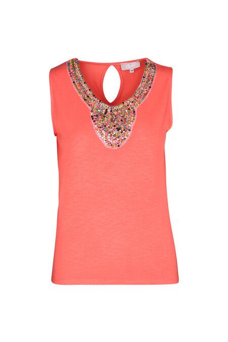 T-shirt plastron de perles - Corail