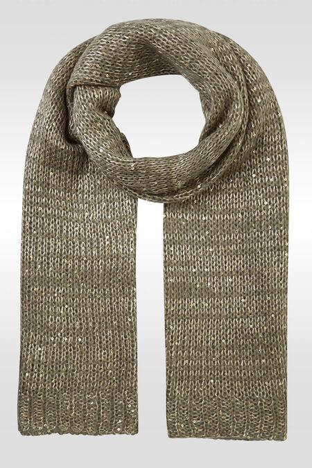 Sjaal in grote steken met lovertjes - Kaki