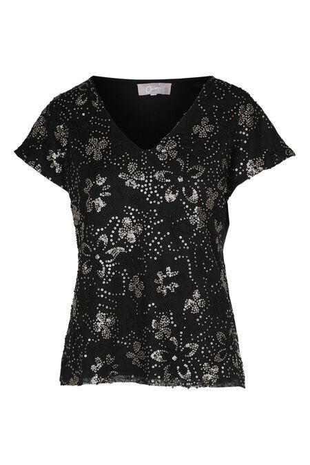 T-shirt in netstof met borduurwerk - Goud