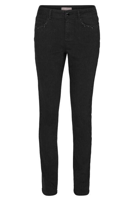 Pantalon en coton détails de perles aux poches - Noir