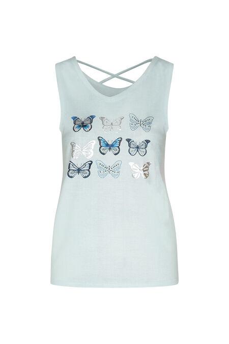 T-shirt gekruiste rug met vlinders - Appelblauwzeegroen