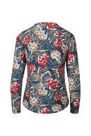 T-shirt in warm tricot met bloemenprint, Emerald groen