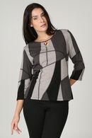 T-shirt maille chaude imprimé géométrique, Gris