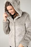 Manteau fausse fourrure avec capuche, Gris