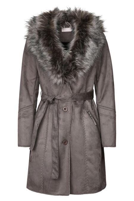 Lange mantel met kraag in imitatiebont - Taupe