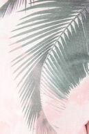 Trui bedrukt met palmbladeren, Ecru