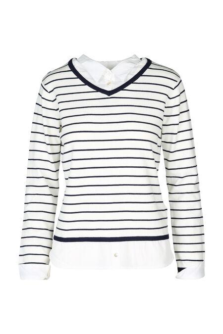 Gestreepte trui 2-in-1 - Marineblauw