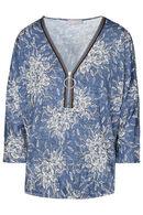 T-shirt in jeanstricot met een bloemenprint, Denim
