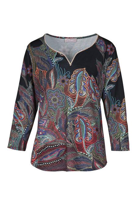 T-shirt met Tunesische hals en kleurrijke pluimenprint - Multicolor
