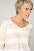 Pull rayures et strass, Sable