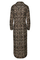 Jurk met hemdskraag en luipaardprint, Bruin