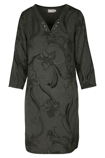 Robe lyocel imprimé fleuri - Kaki