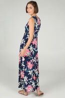 Lange jurk met een V-hals van steentjes, Roze