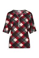 T-shirt imprimé carreaux col avec zip, Rouge