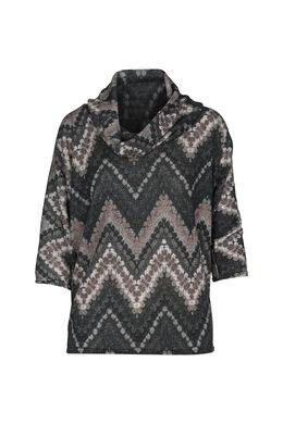T-shirt in bedrukt, warm tricot, Antraciet