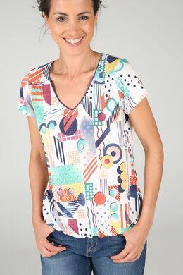 T-shirt in koel tricot met geometrische print, Multicolor