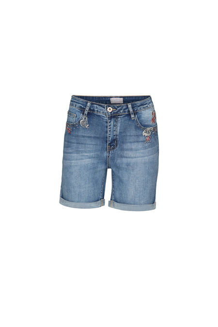 Short en jeans avec broderies - Denim