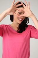 T-shirt col V avec lurex, Fushia