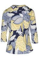 T-shirt in tricot met Japanse print, Geel