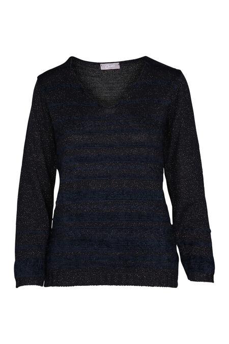 Pluizige trui met lurexstrepen - Marineblauw