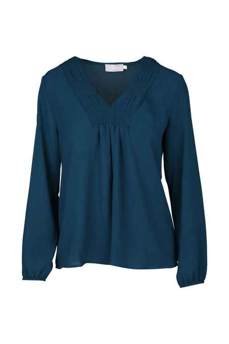 Blouse unie encolure en smocks - Canard