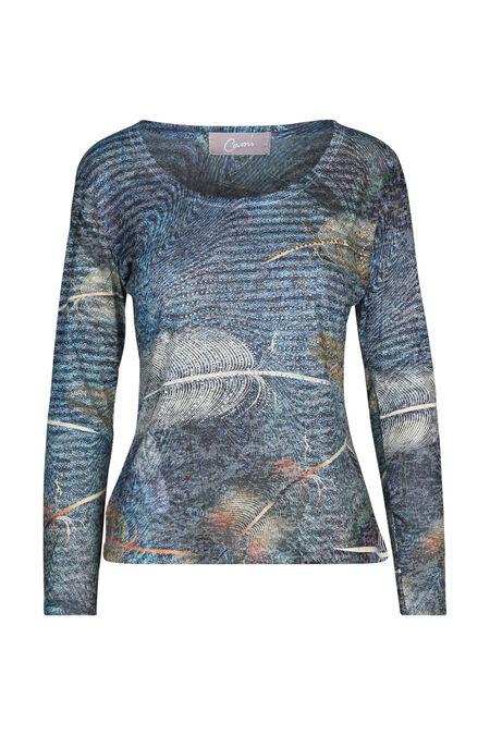 T-shirt met pluimen en strassteentjes - Blauw