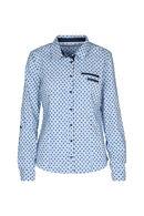 Katoenen hemd met print, Blauw