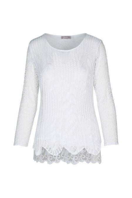 Tuniek met gehaakte draden - Wit
