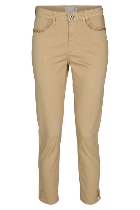 Pantalon coton détails de broderie - Camel