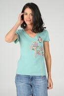 T-shirt en coton brodé, aqua