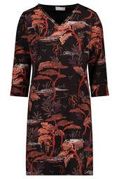 Cassis - Rechte jurk met bladprint