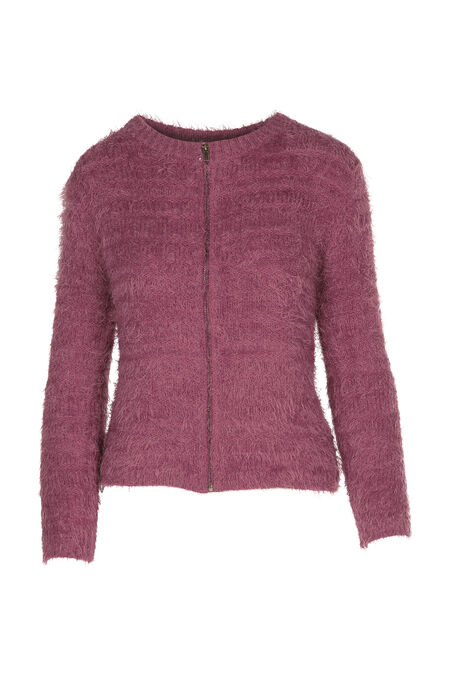 Cardigan maille poilue - Rose fonce