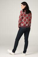 T-shirt met lange mouwen en bladprint, Aubergine