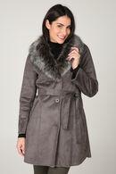 Lange mantel met kraag in imitatiebont, Taupe