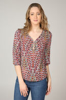 T-shirt imprimé ethnique col zip, Framboise