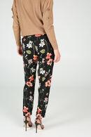 Pantalon imprimé de coquelicots, Rose