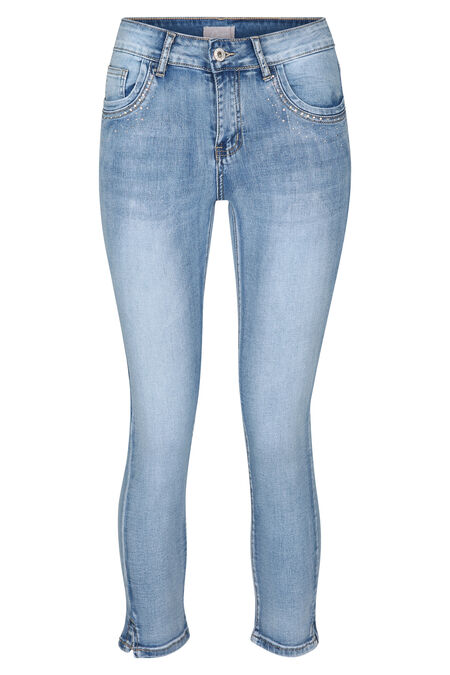 Pantacourt jeans avec strass - Denim